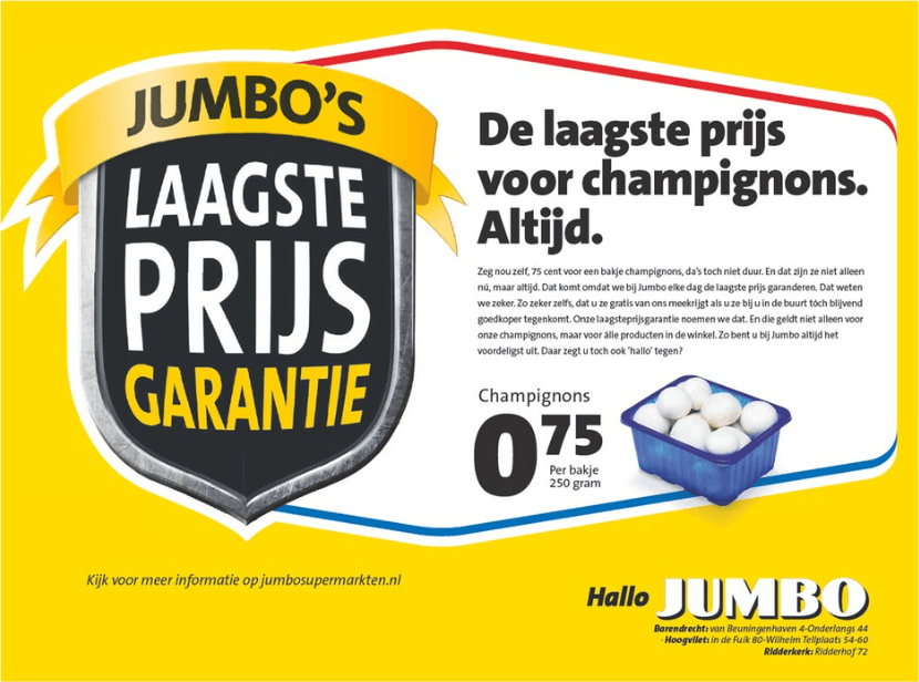 advertisement mushrooms 250 grams in Dutch price €0.75